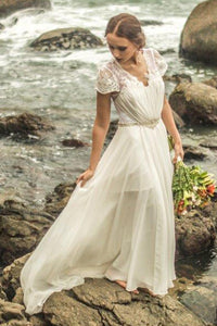 Chiffon V-Neck Beading Wedding Dresses with Cap Sleeves