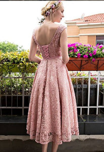 Bateau A-line/Princess Sleeveless Beading Lace up Tea-length Prom Dresses