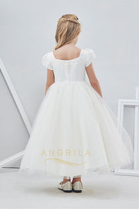 Colored Ball Gown Short Sleeves Long Flower Girl Dresses