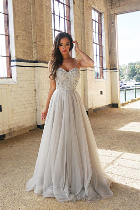 A-Line Spaghetti Straps Prom Dress with Beading