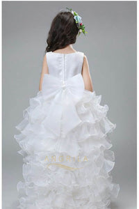 High Low Organza V-Neck Ball Gown Flower Girl Dresses