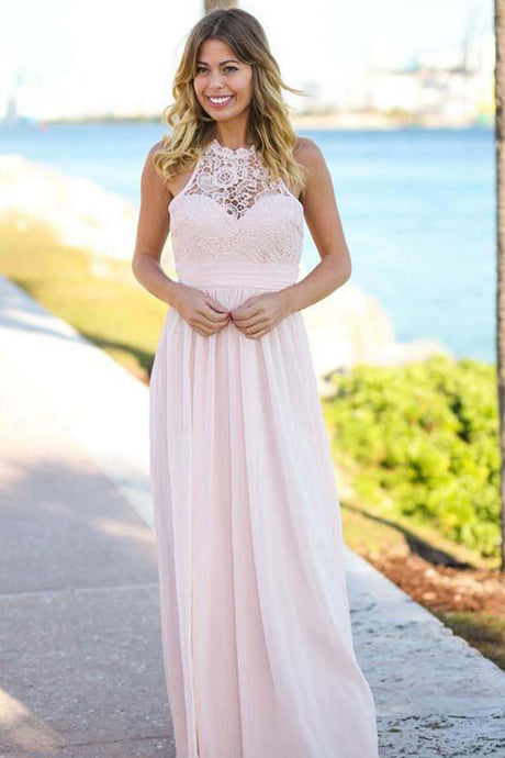 A-line Halter Long Chiffon Formal Prom Dresses