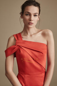 Sheath/Column One-Shoulder Sleeveless Cocktail Dresses with Asymmetric Neckline
