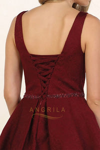 A-line Sleeveless Beading Short Prom Dresses with Pockets