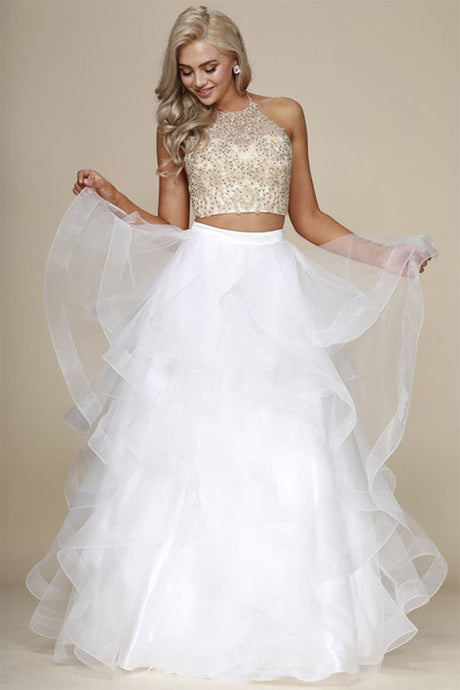 Two-Piece Ball Gown Halter Beading Tired Long Formal Prom Dresses