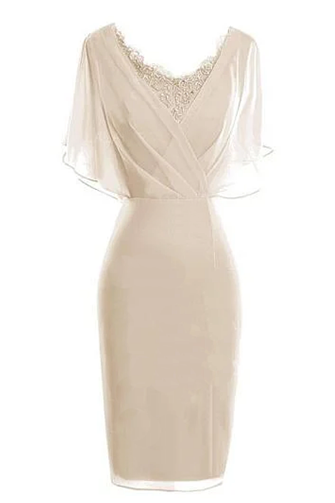 Sheath/Column V-neck Knee-Length Chiffon Glamorous Mother of the Bride Dress