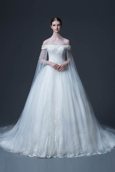 Funky A-Line Court Train Tulle Bridal Wedding Dresses