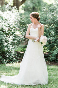 A-line/Princess Sweetheart Sleeveless Lace Beading Wedding Dresses