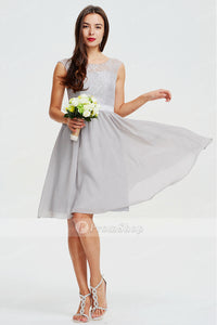 Short A-Line Sleeveless Silver Lace Chiffon Bridesmaid Dress