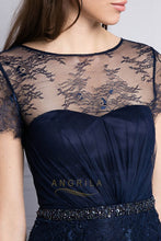 Elegant Embellished Lace Illusion Short Sleeves Tulle Mother of the Bride Dresses