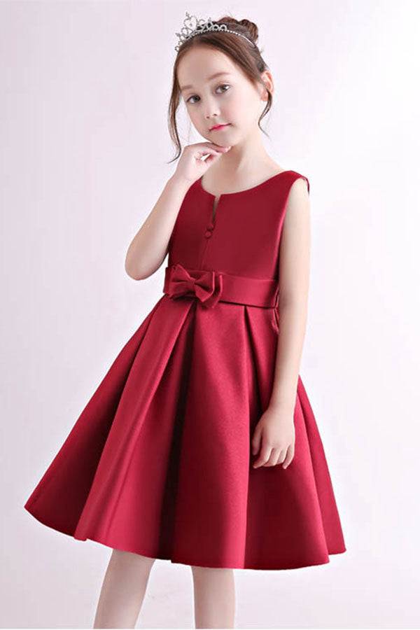 Simple Knee-length Satin Flower Girl Dresses with Bow