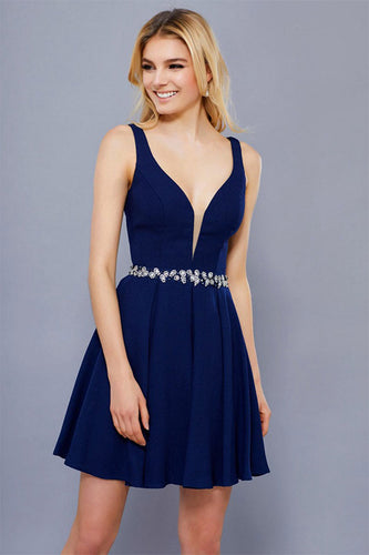 Sexy A-line Deep V-Neck Beading Waistband Short Cocktail Dresses