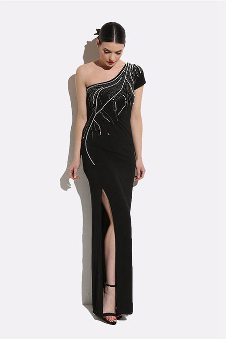 One-shoulder Fabulous Asymmetric Pearl & Sequin Maxi Dress with a Front Split