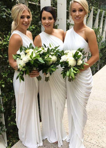White One Shoulder Neckline Sheath/Column Bridesmaid Dress
