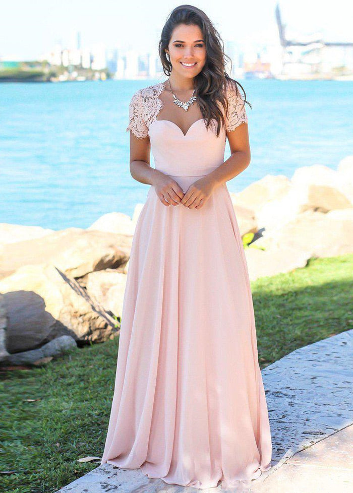 Pink Chiffon Swetheart Neckline A-line Bridesmaid Dresses