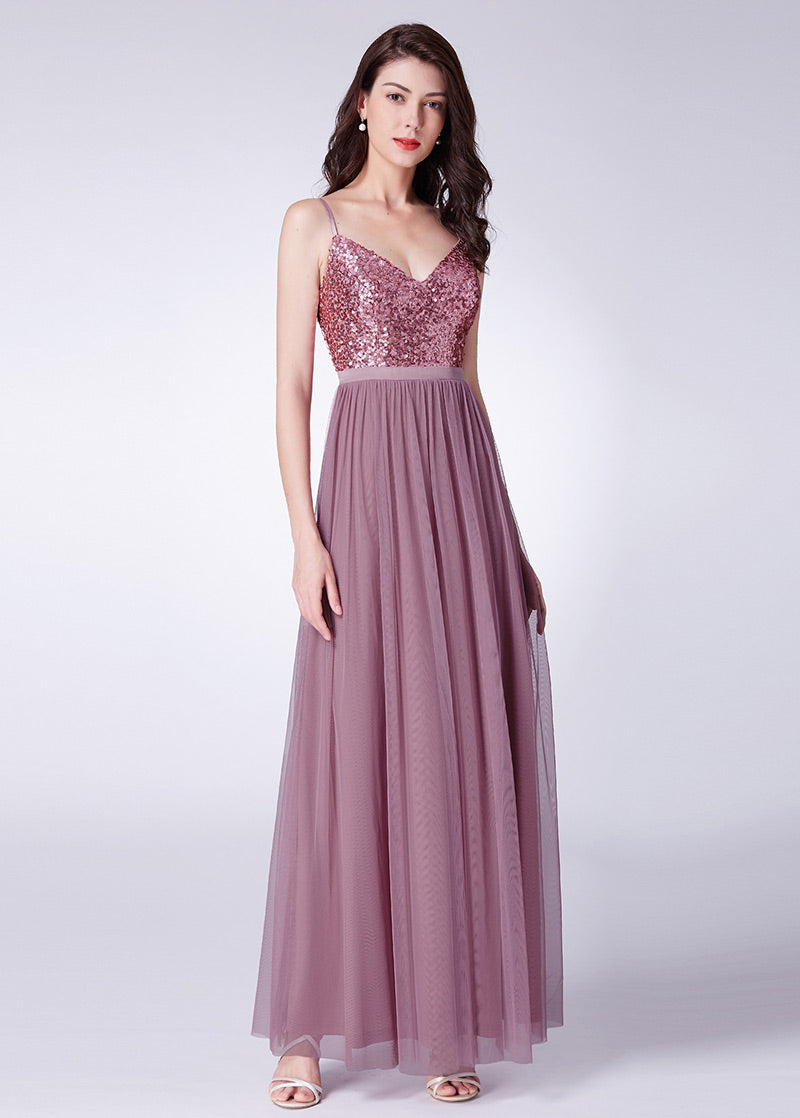 Tulle Spaghetti Straps  Floor-length A-line Bridesmaid Dresses with Sequined