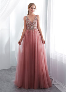 Tulle V-neck  A-line Floor-Length Sleeveless  Prom Dress With Beadings