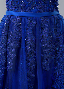 Blue Lace V-neck A-line Prom Dress With Beaded Lace Appliques & Belt