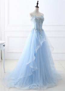 Strapless Tulle Sweetheart A-line Prom Dresses With Lace Appliques & Beadings