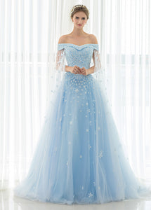 Trumpet/Mermaid Tulle Off-the-shoulder Prom Dress With Beadings & Appliques Lace