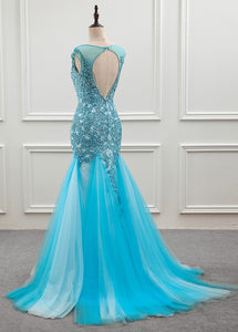 Tulle Scoop Mermaid Evening Dress With Beaded Lace Appliques