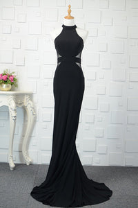 Black Tulle Sheath/Column Floor-Length Prom Dresses