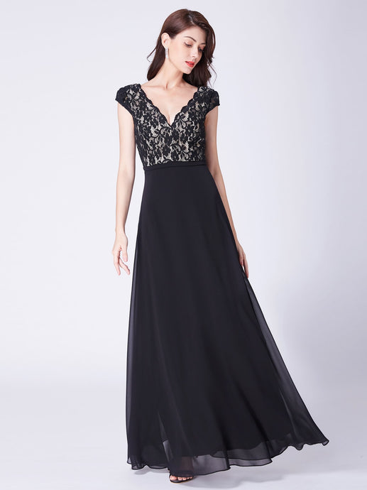 Black Sleeveless V-neck Lace Floor Length Dresses