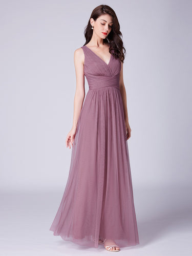 Elegant A-Line/Princess Tulle V-neck  Sleeveless Bridesmaids Dresses