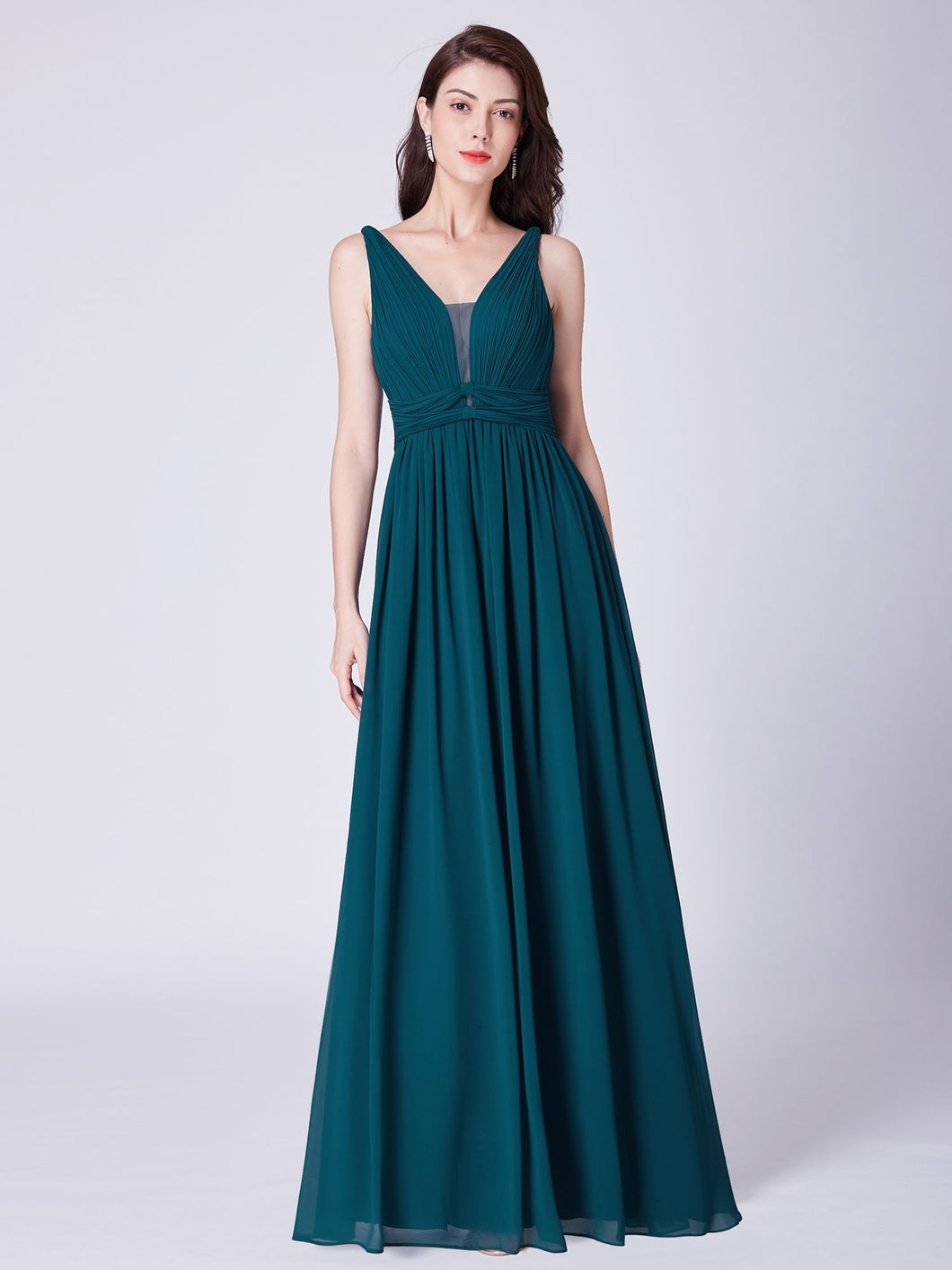 Green Chiffon A-Line/Princess Floor-Length Bridesmaids Dresses
