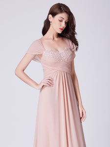 Chiffon Floor-Length Sleeveless Long Bridesmaid Dresses with Appliques Lace