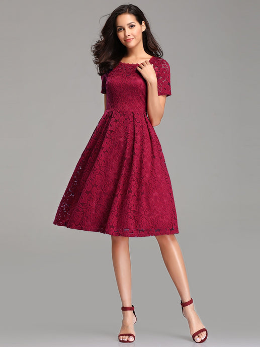 Burgundy A-Line/Princess Lace Short Bridesmaids Dresses