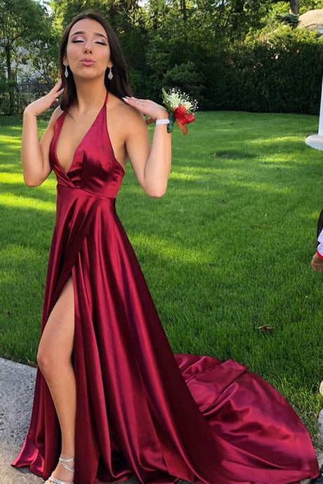 Burgundy A-Line/Princess V-neck Satin Long Prom Dresses