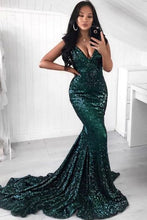 Green A-Line/Princess V-neck Sequined Sleeveless Floor-Length Prom Dresses