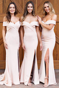 A-Line/Princess Off-the-Shoulder Floor-Length Satin Bridesmaid Dress
