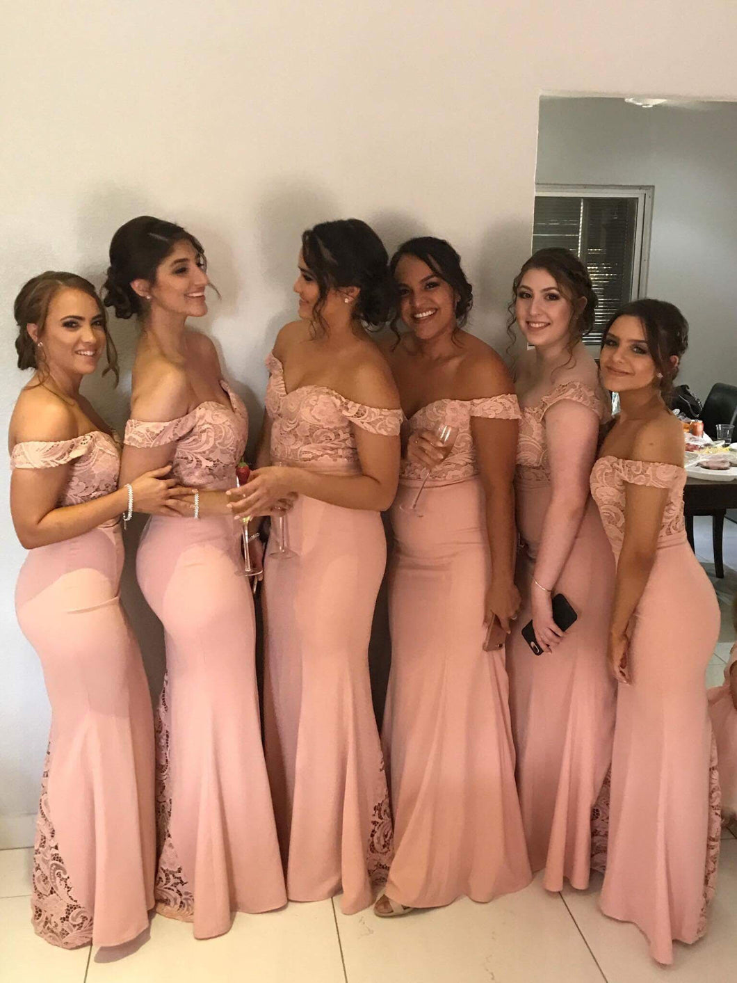 Lace Off-the-Shoulder Floor-Length Long Bridesmaid Dress