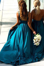A-line/Princess V-Neck Sleeveless Floor-Length Bridesmaid Dress