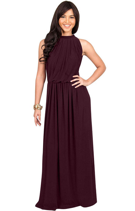 Chiffon High Neck Floor-Length Sleeveless Bridesmaids Dresses