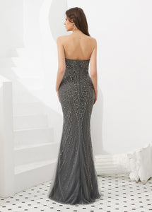 Trumpet/Mermaid Tulle Sweetheart Floor-length Evening Dresses With Beading