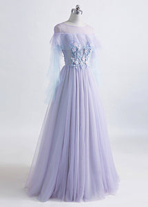 A-Line/Princess Tulle Jewel Floor-length Prom Dress With Beaded Lace Appliques