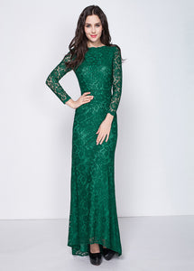 A-Line/Princess Green Floor-Length Lace Long Sleeves Evening Dresses