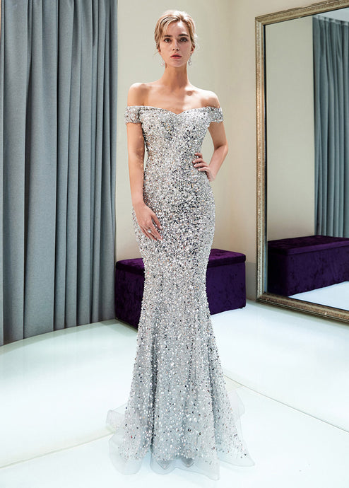 Trumpet/Mermaid Off-the-Shoulder Sequined Floor-Length Prom Dresses