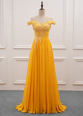 A-Line/Princess Chiffon Floor-Length Off-the-Shoulder Long Prom Dresses with Appliques Lace