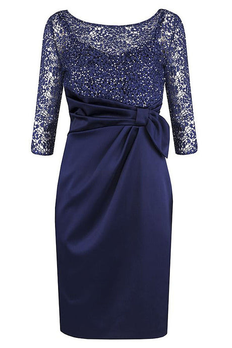 Dark Navy  3/4 Sleeves Short Mother of The Bride Dress with Lace Beading