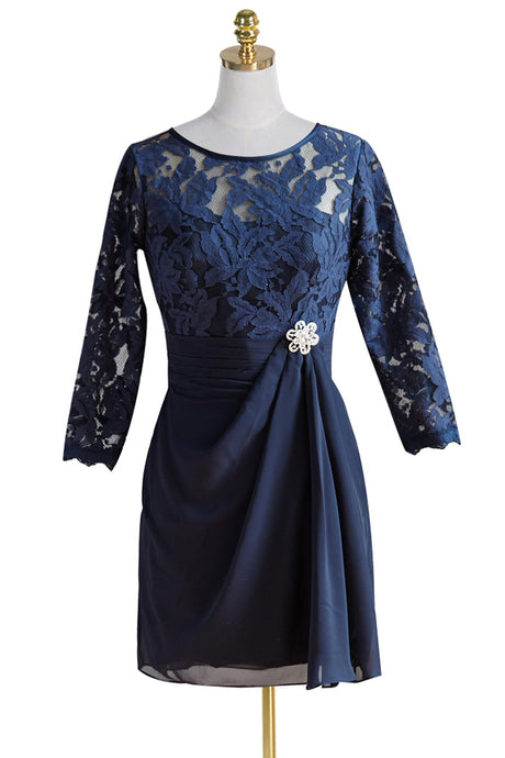A-Line/Princess Short 3/4 Sleeves Chiffon Mother of the Bride Dress with Lace