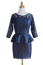 Scoop Neck 3/4 Sleeves Lace Short Mother of the Bride Dress