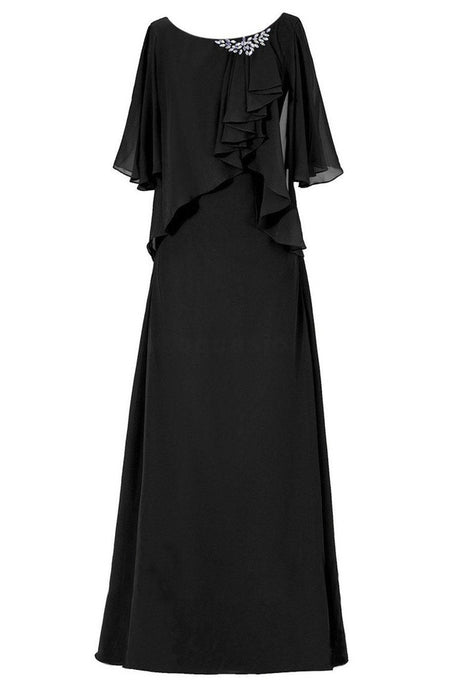 Chiffon 3/4 Sleeves Scoop Neck Floor-Length Mother of the Bride Dresses