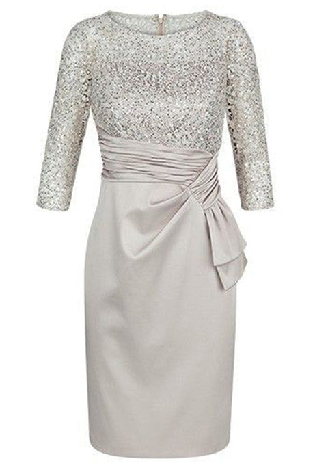 Satin Scoop Neck Long Sleeves Short Mother of the Bride Dresses