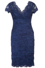 Lace Short Sleeves V-neck Beading Mother of the Bride Dresses