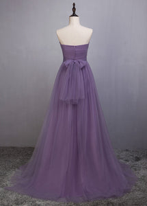 A-Line/Princess Tulle Sleeveless Bow(s) Bridesmaids Dresses