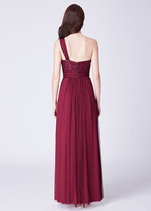 Tulle One-Shoulder Sleeveless Floor-Length Bridesmaids Dresses Sequined
